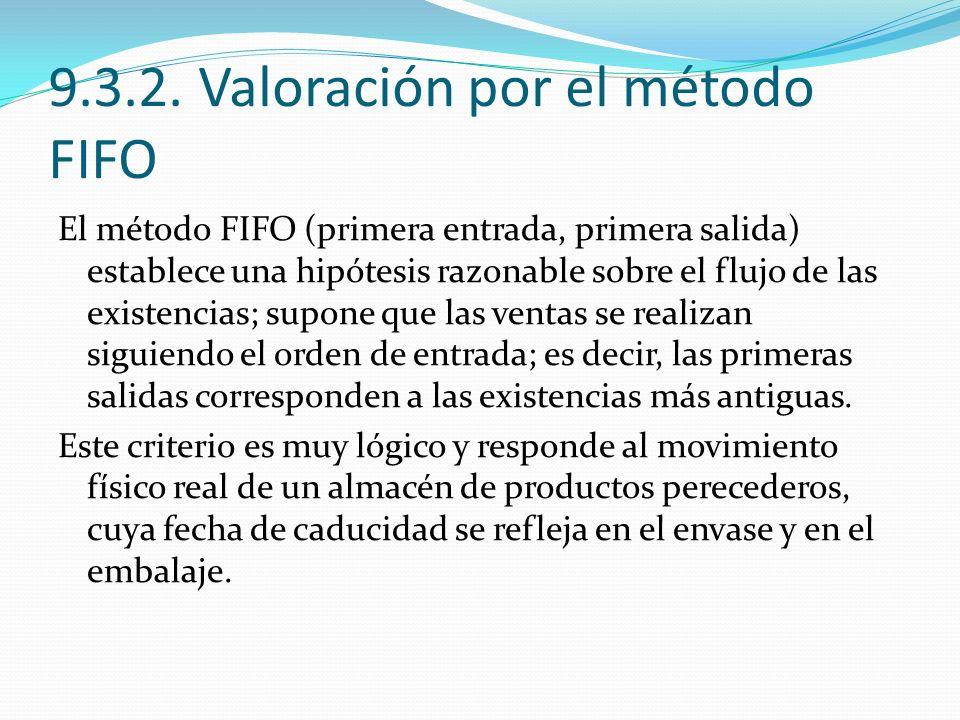 9.3.2. Valoración por el método FIFO
