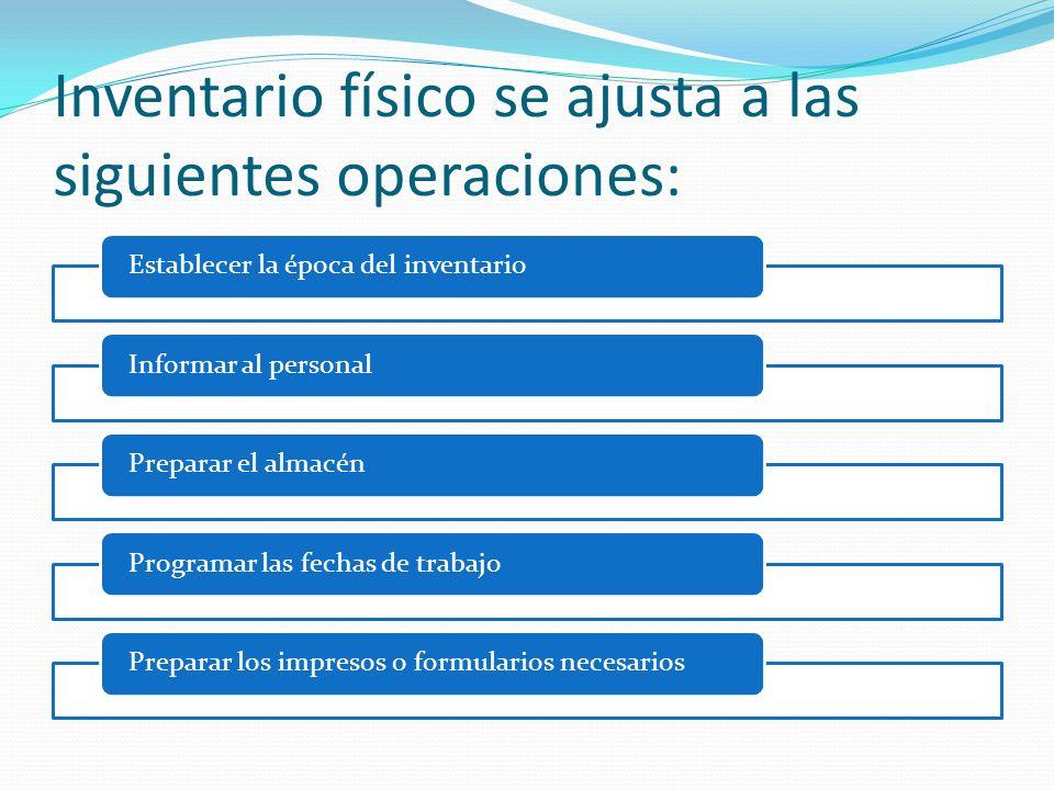 Inventario físico se ajusta a las siguientes operaciones:
