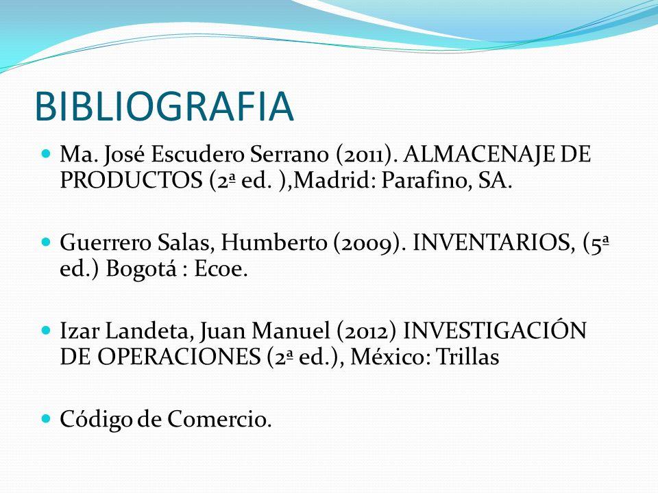 BIBLIOGRAFIA Ma. José Escudero Serrano (2011). ALMACENAJE DE PRODUCTOS (2ª ed. ),Madrid: Parafino, SA.