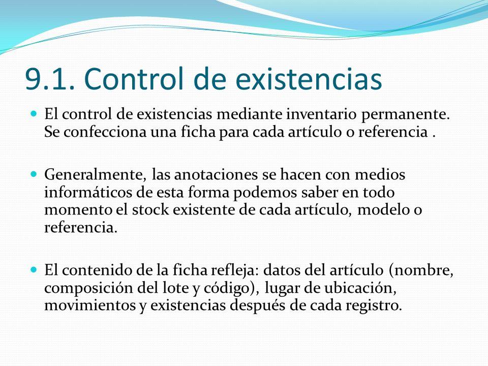 9.1. Control de existencias