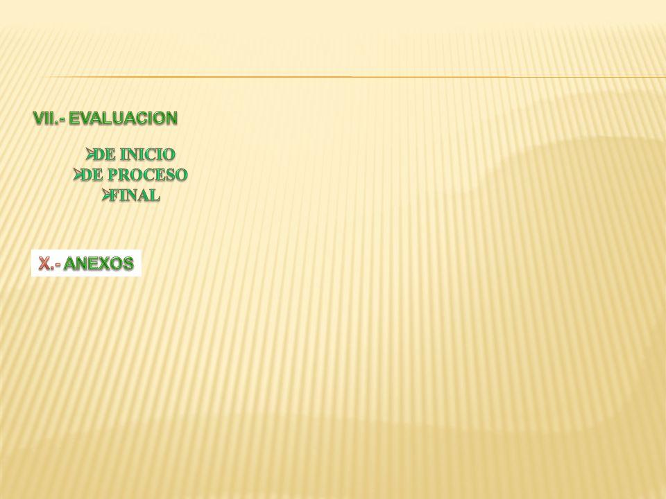 VII.- EVALUACION DE INICIO DE PROCESO FINAL X.- ANEXOS