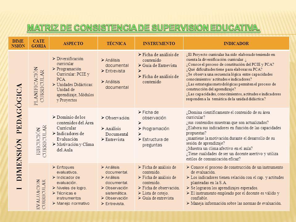 MATRIZ DE CONSISTENCIA DE SUPERVISION EDUCATIVA.