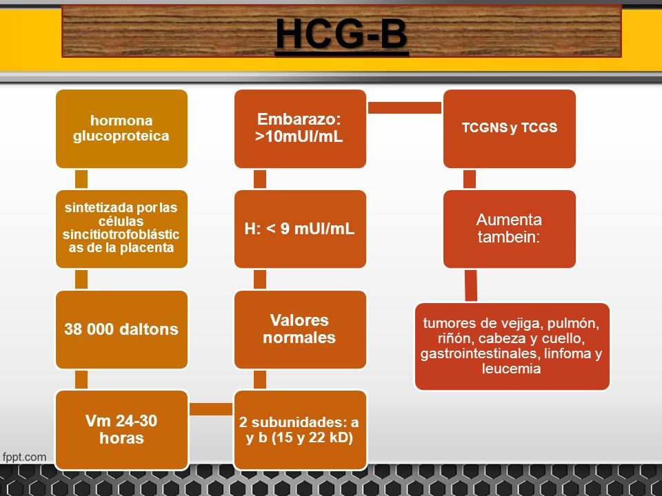 HCG-B 38 000 daltons Vm 24-30 horas Valores normales H: < 9 mUl/mL