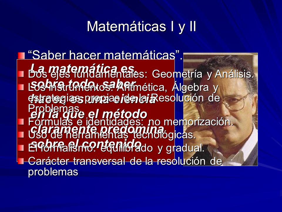 Matemáticas I y II Saber hacer matemáticas .