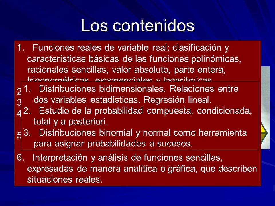 Los contenidos - Aritmética y Álgebra. - Geometría. - Análisis.