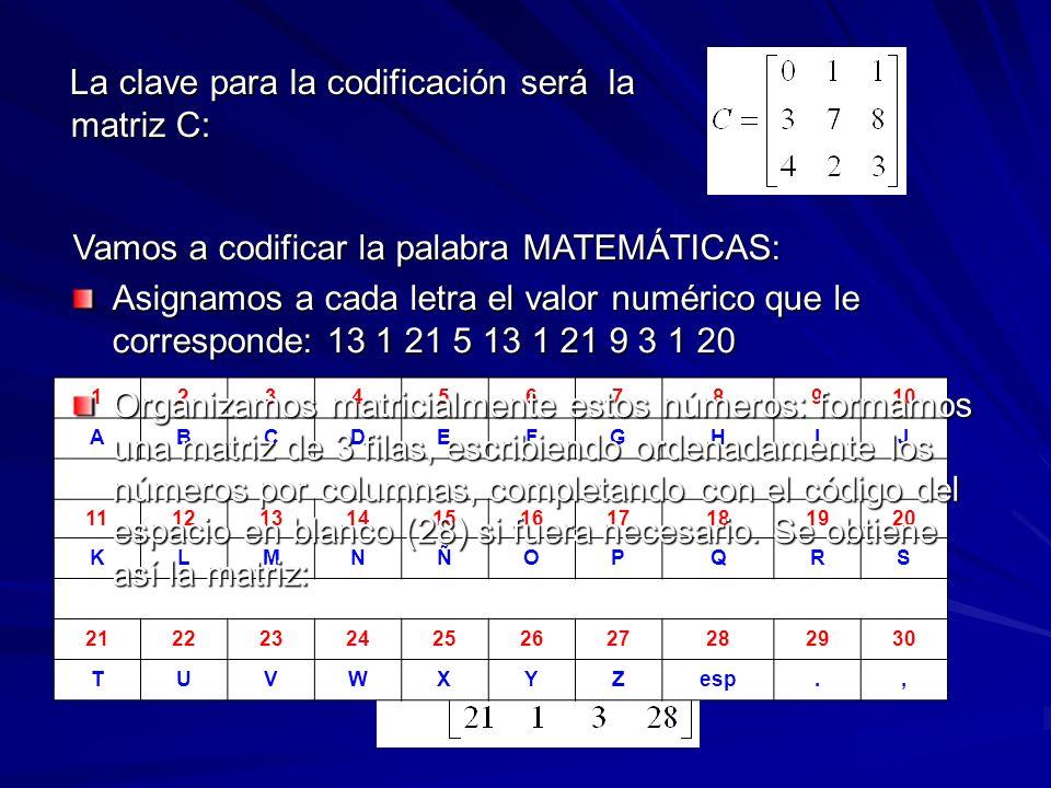 La clave para la codificación será la matriz C: