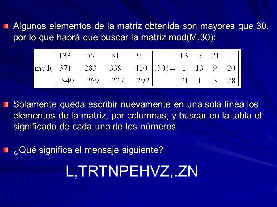 Algunos elementos de la matriz obtenida son mayores que 30, por lo que habrá que buscar la matriz mod(M,30):