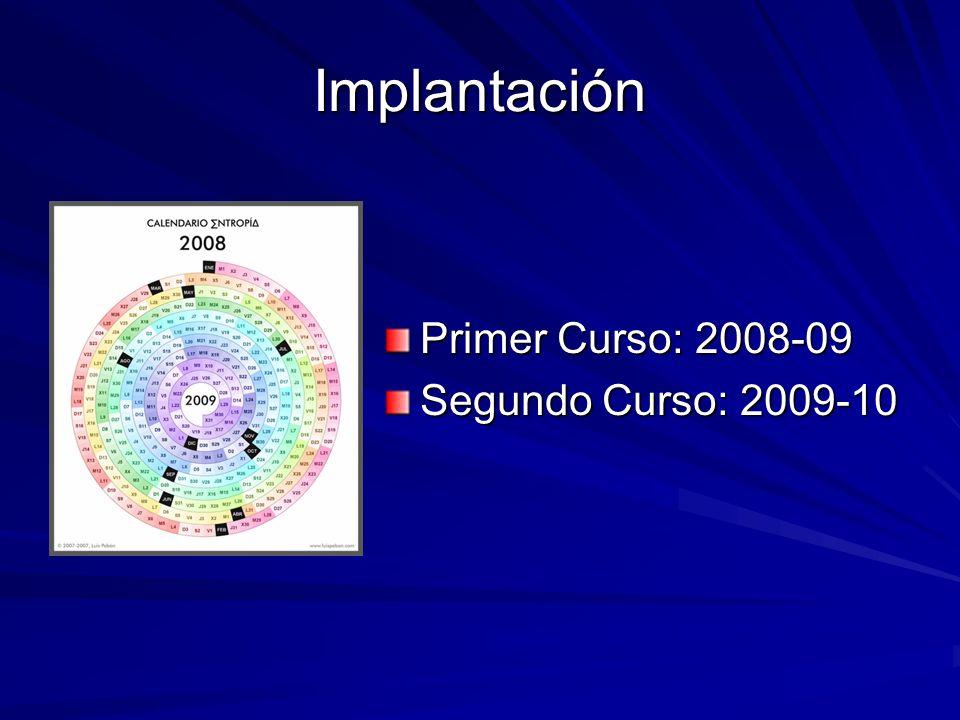 Implantación Primer Curso: 2008-09 Segundo Curso: 2009-10
