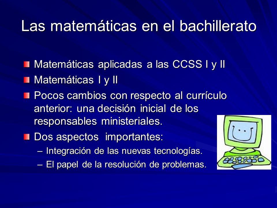 Las matemáticas en el bachillerato