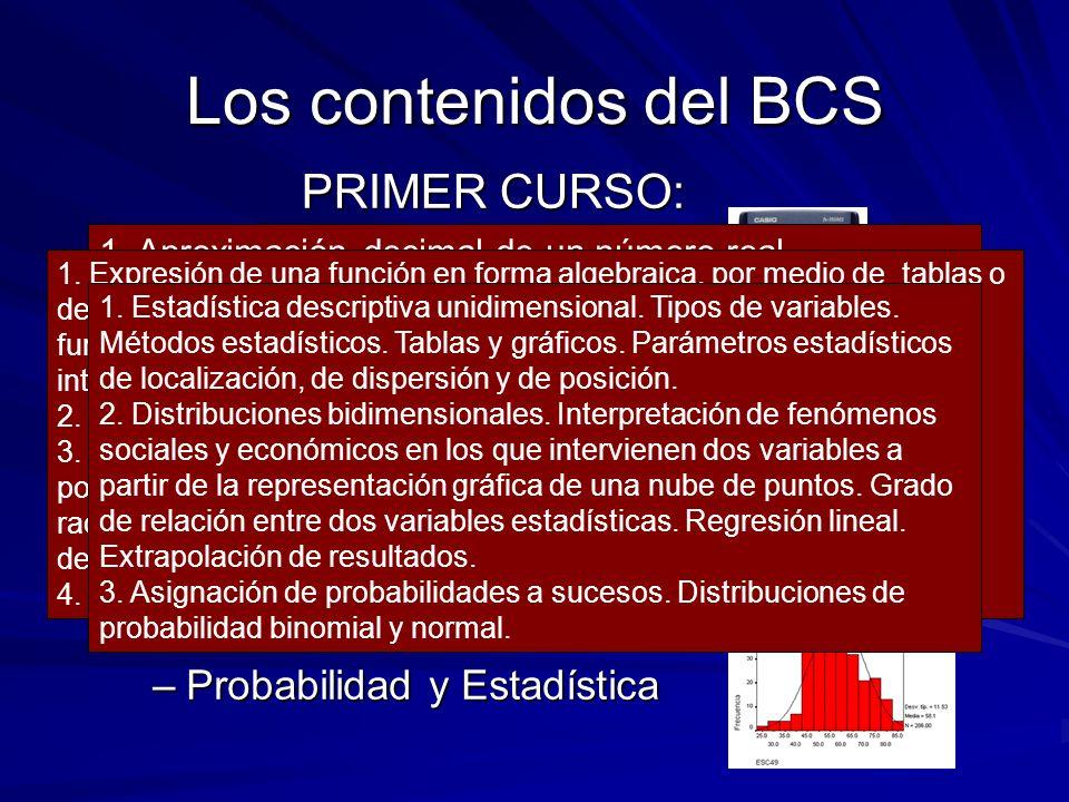 Los contenidos del BCS PRIMER CURSO: Aritmética y Álgebra Análisis