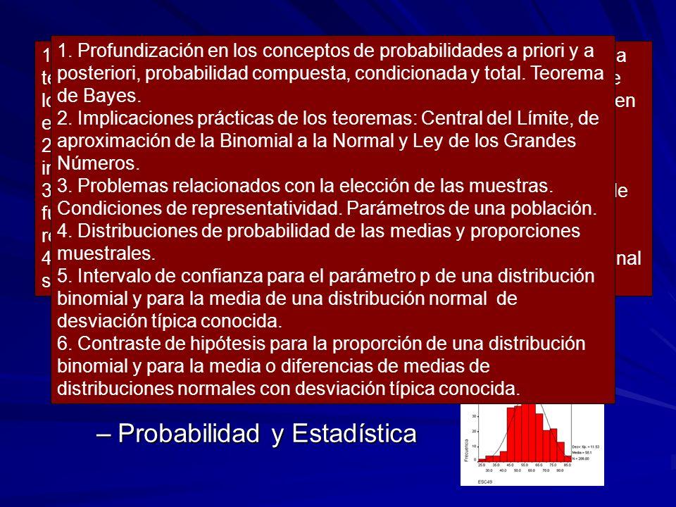 SEGUNDO CURSO Álgebra Análisis Probabilidad y Estadística
