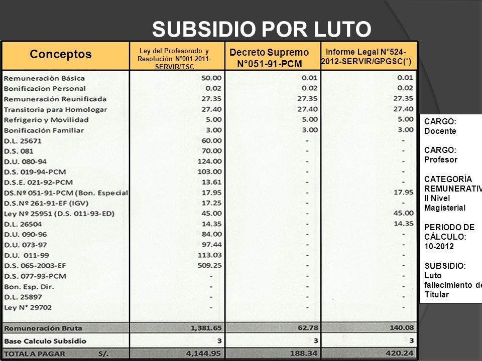 SUBSIDIO POR LUTO Conceptos Decreto Supremo N°051-91-PCM