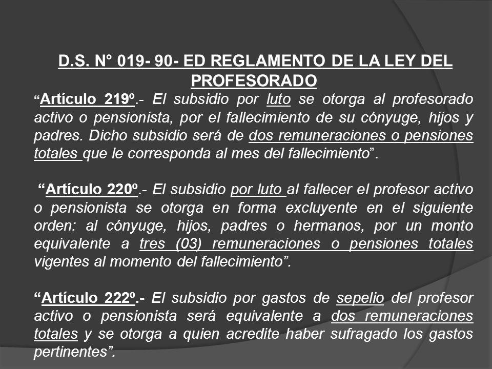 D.S. N° 019- 90- ED REGLAMENTO DE LA LEY DEL PROFESORADO