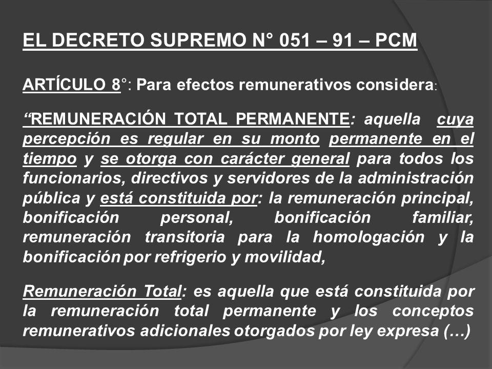 EL DECRETO SUPREMO N° 051 – 91 – PCM