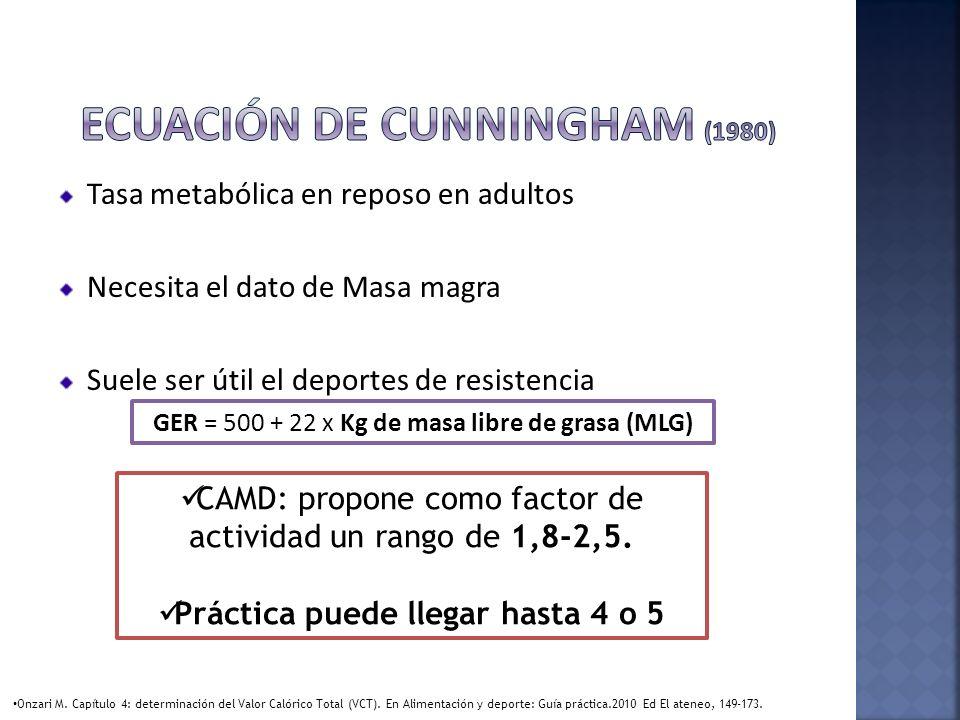 Ecuación de Cunningham (1980)