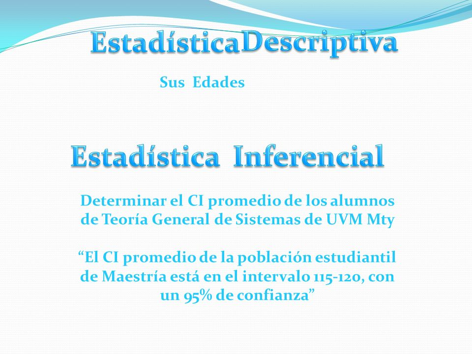 Estadística Descriptiva Estadística Inferencial