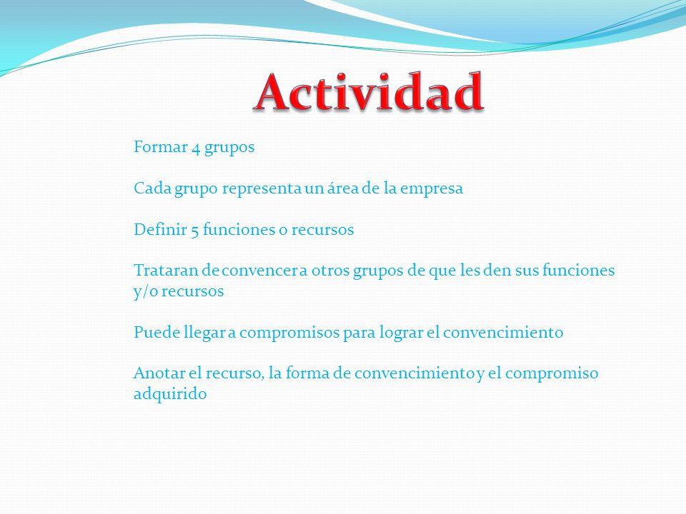 Actividad Formar 4 grupos Cada grupo representa un área de la empresa