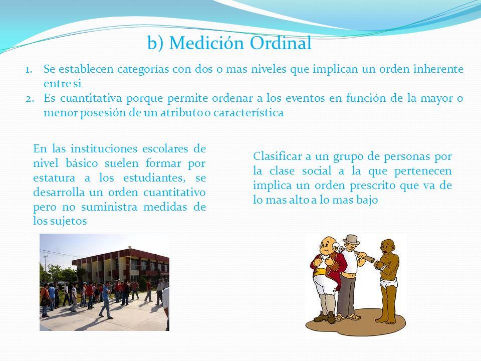 b) Medición Ordinal Se establecen categorías con dos o mas niveles que implican un orden inherente entre si.