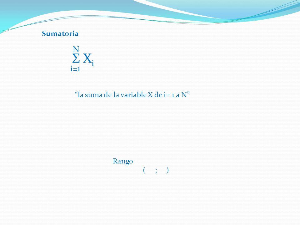 N Σ Xi i=1 Sumatoria la suma de la variable X de i= 1 a N Rango
