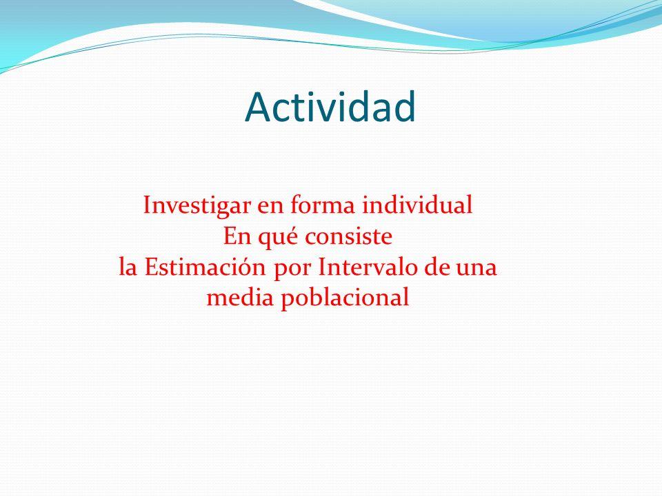 Actividad Investigar en forma individual En qué consiste