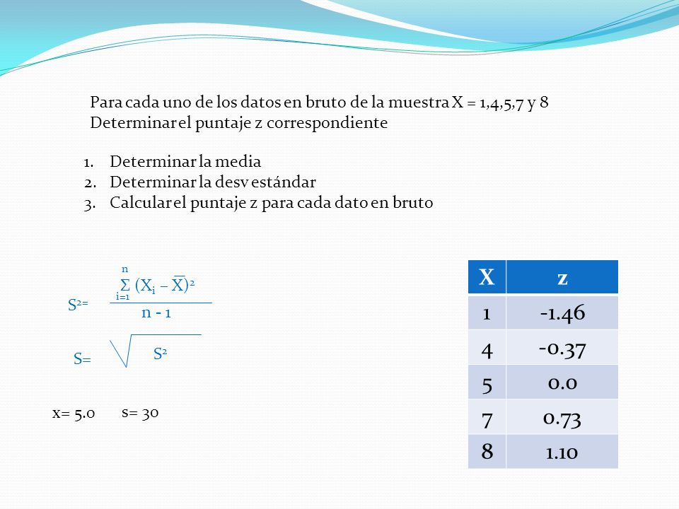 Para cada uno de los datos en bruto de la muestra X = 1,4,5,7 y 8