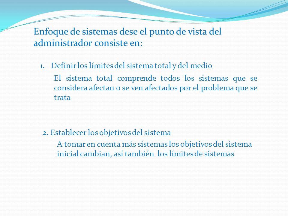 Enfoque de sistemas dese el punto de vista del administrador consiste en: