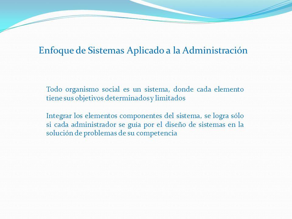 Enfoque de Sistemas Aplicado a la Administración