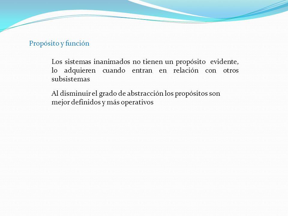 Propósito y función Los sistemas inanimados no tienen un propósito evidente, lo adquieren cuando entran en relación con otros subsistemas.