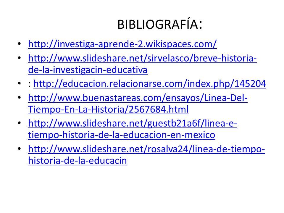 BIBLIOGRAFÍA: http://investiga-aprende-2.wikispaces.com/