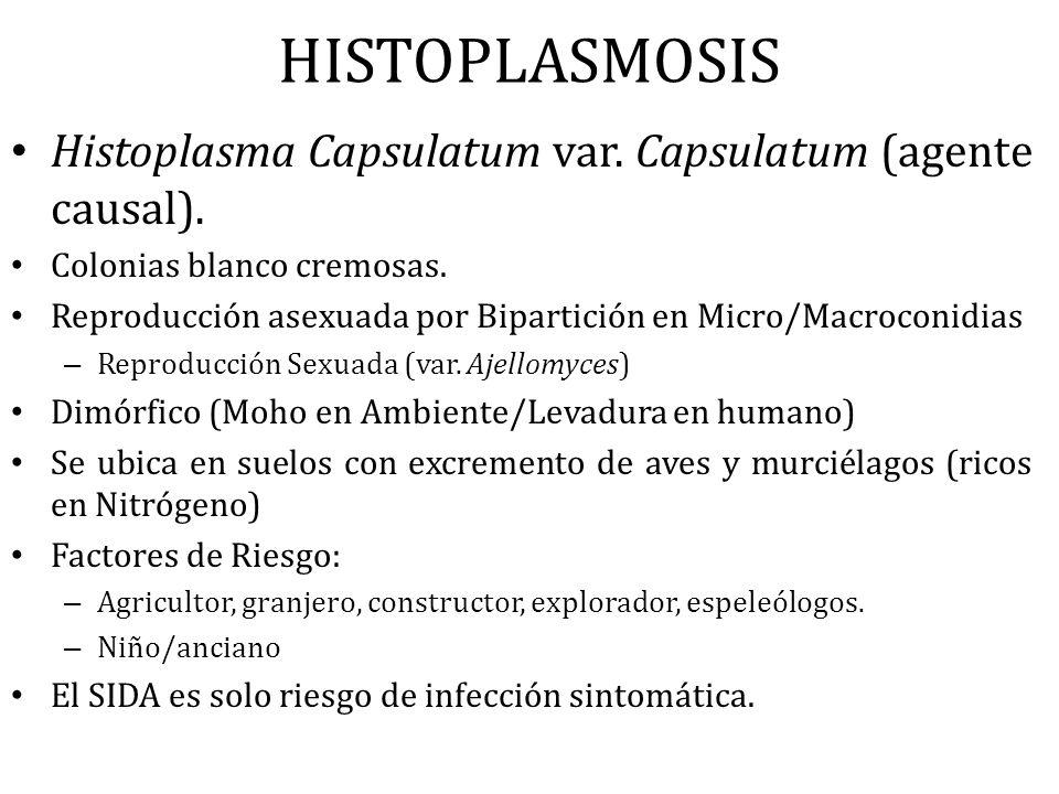 HISTOPLASMOSIS Histoplasma Capsulatum var. Capsulatum (agente causal).
