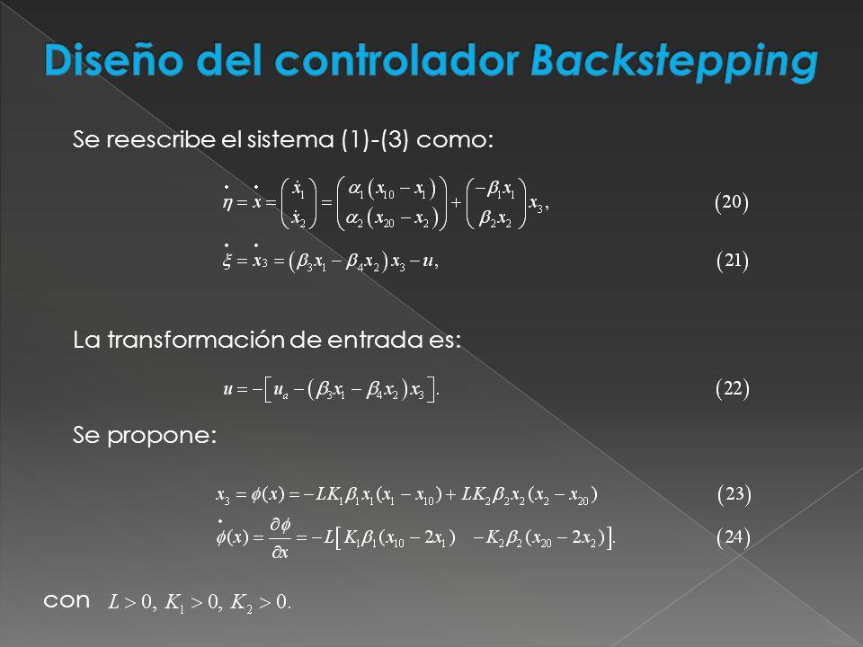 Diseño del controlador Backstepping