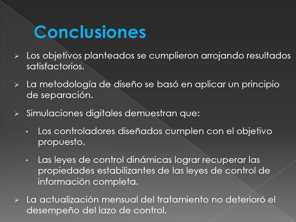 Conclusiones Los objetivos planteados se cumplieron arrojando resultados satisfactorios.