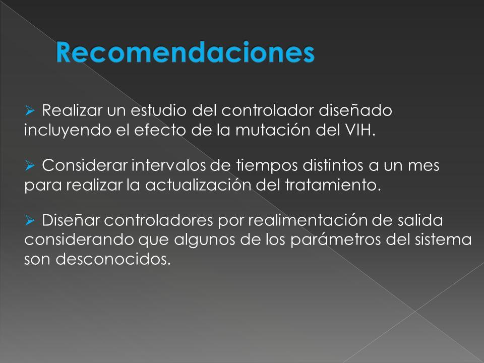 RecomendacionesRealizar un estudio del controlador diseñado incluyendo el efecto de la mutación del VIH.