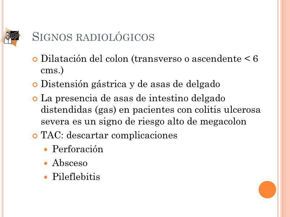Signos radiológicos Dilatación del colon (transverso o ascendente < 6 cms.) Distensión gástrica y de asas de delgado.