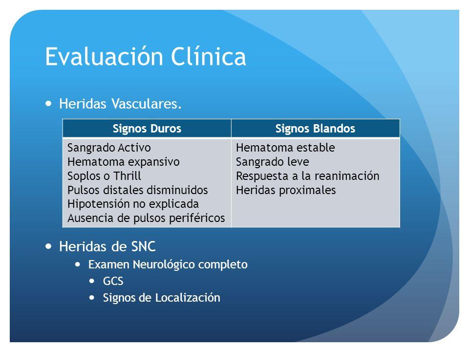 Evaluación Clínica Heridas Vasculares. Heridas de SNC