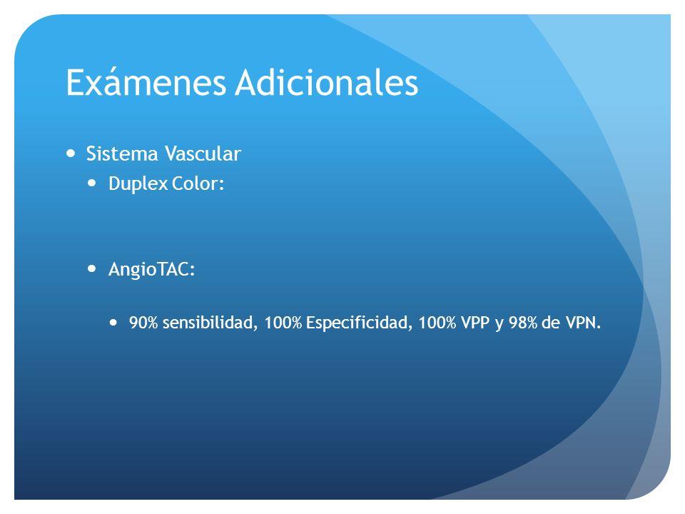 Exámenes Adicionales Sistema Vascular Duplex Color: AngioTAC: