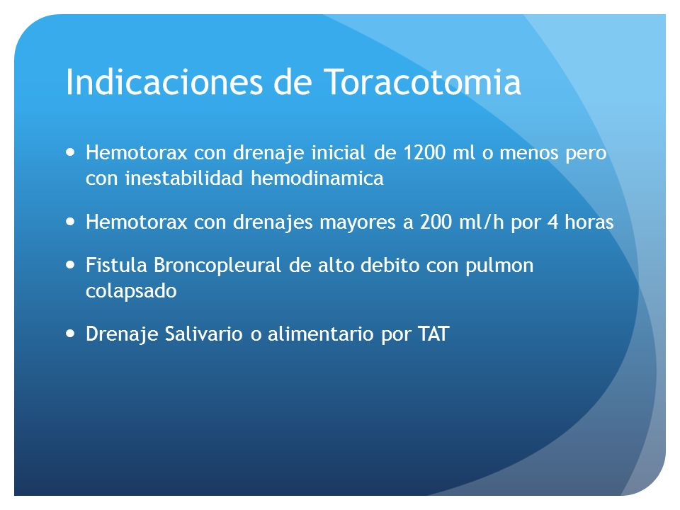 Indicaciones de Toracotomia