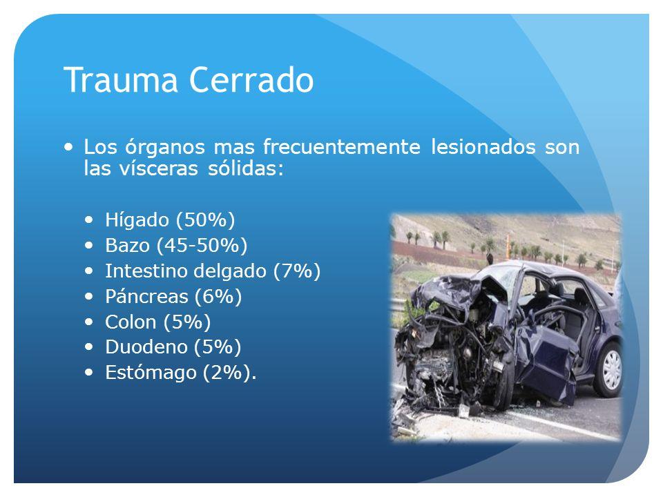 Trauma Cerrado Los órganos mas frecuentemente lesionados son las vísceras sólidas: Hígado (50%) Bazo (45-50%)