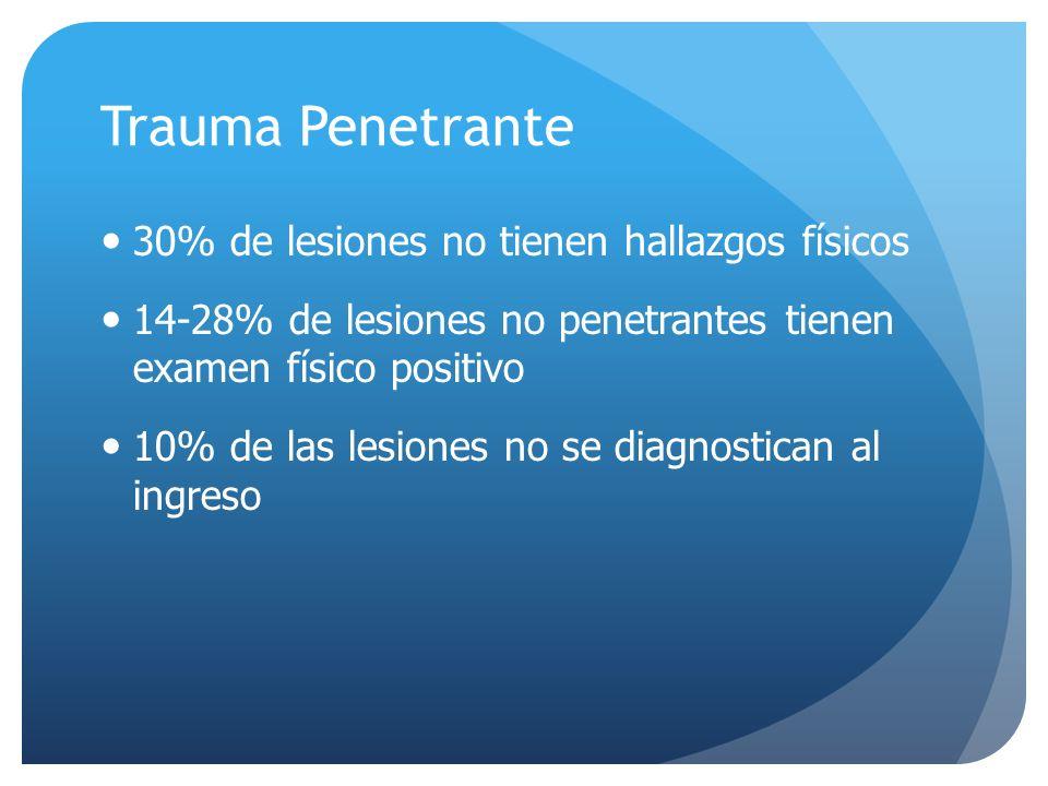 Trauma Penetrante 30% de lesiones no tienen hallazgos físicos