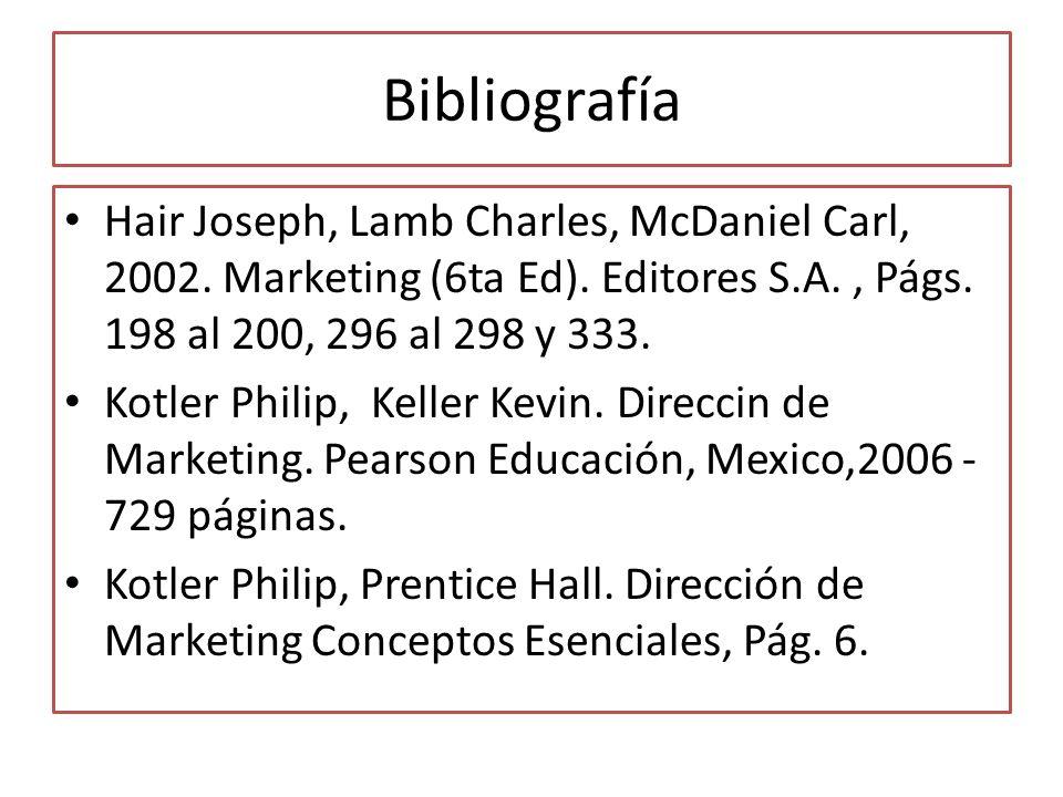 Bibliografía Hair Joseph, Lamb Charles, McDaniel Carl, 2002. Marketing (6ta Ed). Editores S.A. , Págs. 198 al 200, 296 al 298 y 333.