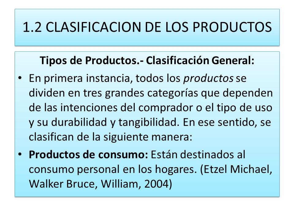 1.2 CLASIFICACION DE LOS PRODUCTOS
