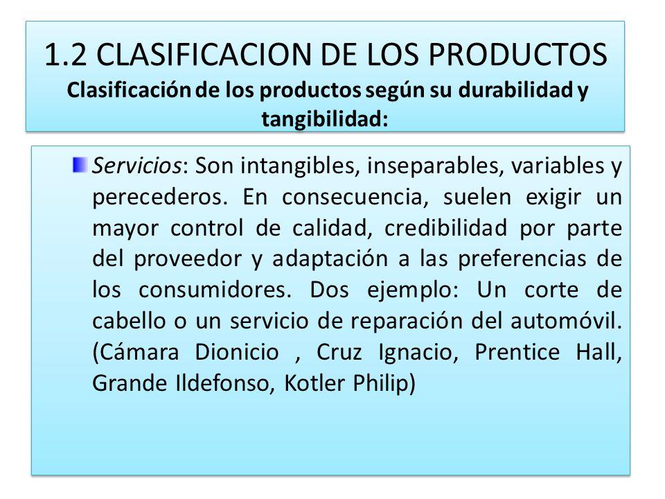 1.2 CLASIFICACION DE LOS PRODUCTOS Clasificación de los productos según su durabilidad y tangibilidad: