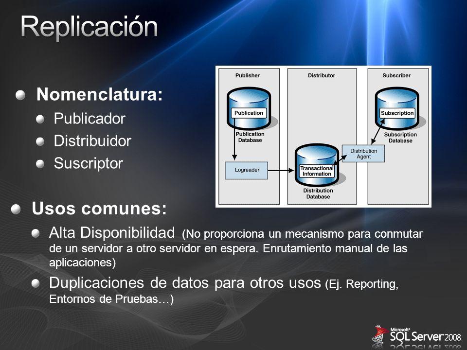 Replicación Nomenclatura: Usos comunes: Publicador Distribuidor