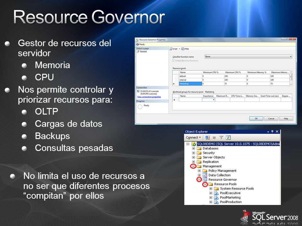 Resource Governor Gestor de recursos del servidor Memoria CPU