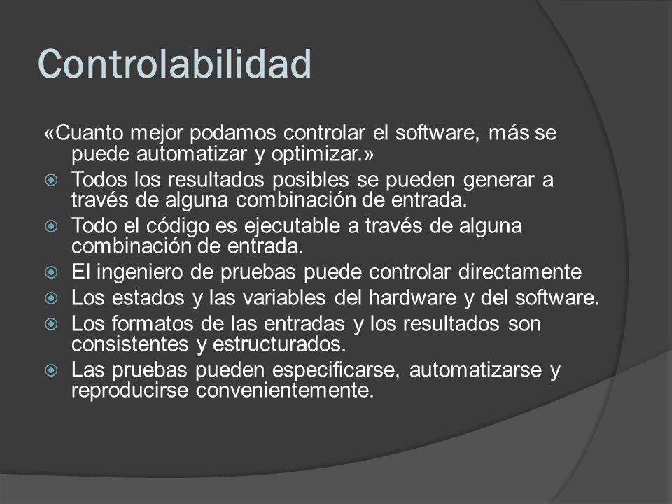 Controlabilidad «Cuanto mejor podamos controlar el software, más se puede automatizar y optimizar.»