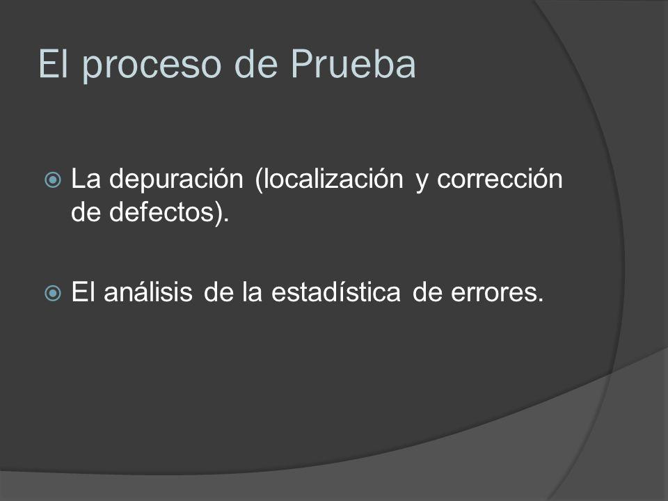 El proceso de Prueba La depuración (localización y corrección de defectos).
