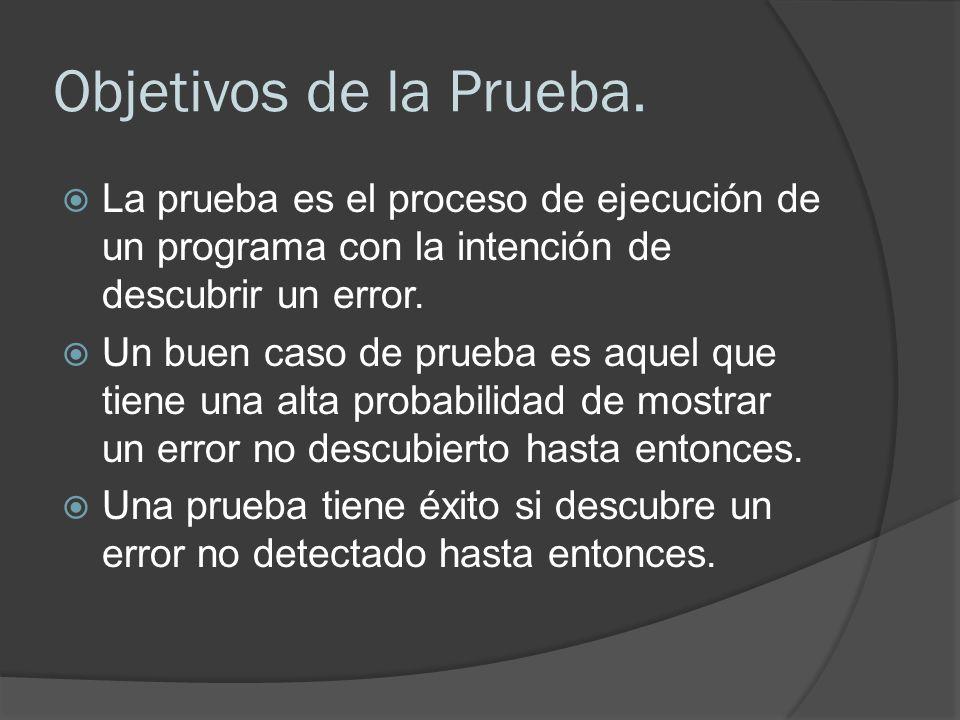 Objetivos de la Prueba. La prueba es el proceso de ejecución de un programa con la intención de descubrir un error.