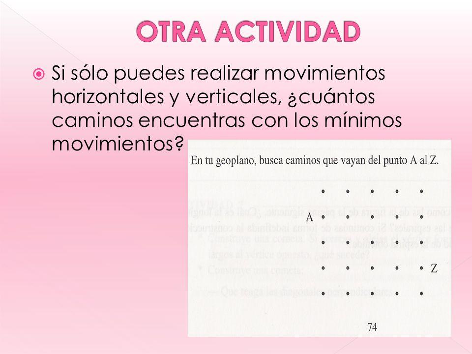 OTRA ACTIVIDAD Si sólo puedes realizar movimientos horizontales y verticales, ¿cuántos caminos encuentras con los mínimos movimientos