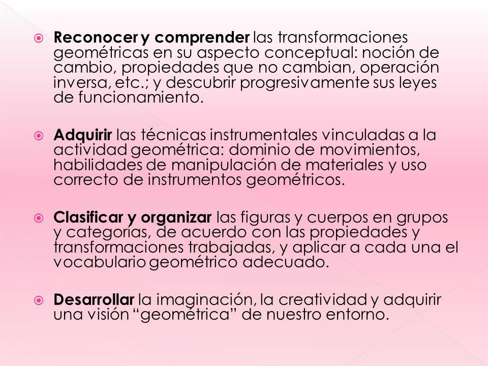 Reconocer y comprender las transformaciones geométricas en su aspecto conceptual: noción de cambio, propiedades que no cambian, operación inversa, etc.; y descubrir progresivamente sus leyes de funcionamiento.