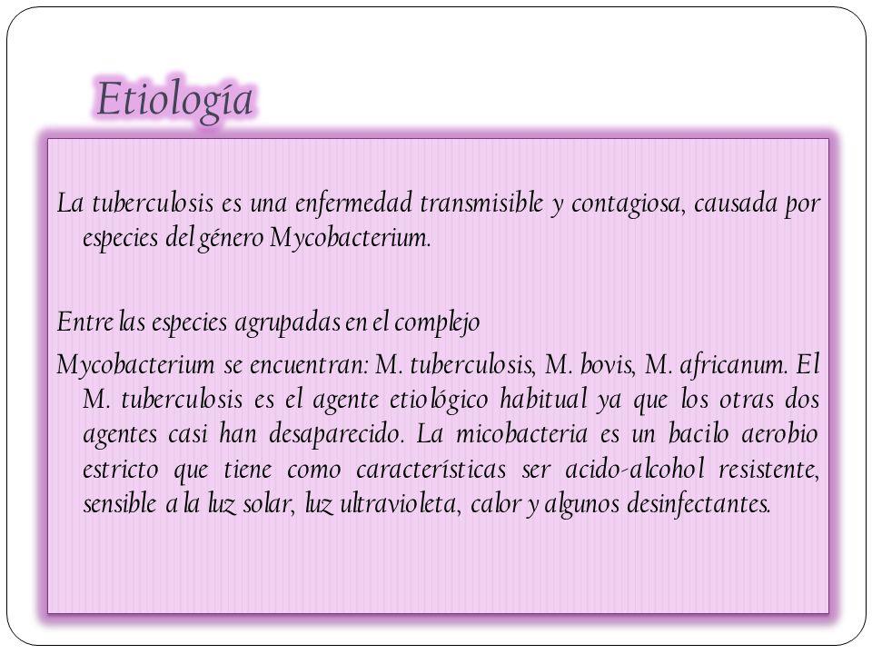 Etiología La tuberculosis es una enfermedad transmisible y contagiosa, causada por especies del género Mycobacterium.